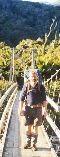 Author at Karamea end of Heaphy Track 13 July 2000 (beautiful weather despite forecasts - there is a lesson there)
